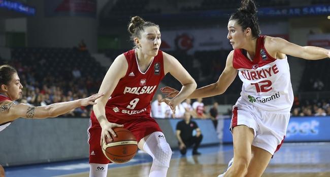 A Milli Kadin Basketbol Takimi  Avrupa Sampiyonasi Elemeleri B Grubunda Polonyayi  Yapti