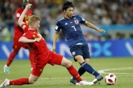Belçika-Japonya maçından yansıyan kareler